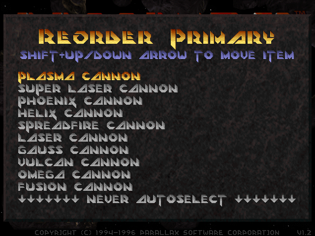 Descent 2: Primary autoselect ordering