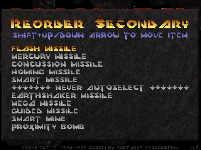 Descent 2: Secondary autoselect ordering