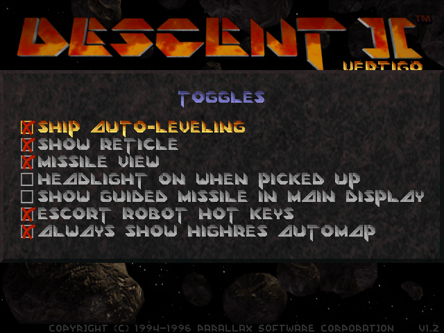 Descent 2: Toggles